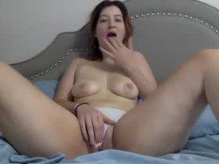 strawberriesandcream69 cute brunette cam girl gets her pussy banged very hard